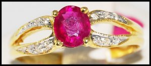 Ruby Solitaire Ring Natural Diamond 18K Yellow Gold [R0096]