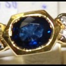 Diamond Solitaire Genuine Blue Sapphire Ring 18K Yellow Gold [RS0023]