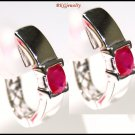 Natural Ruby Gemstone 14K White Gold Clip-On Earrings [E_102]