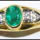 Genuine Diamond Emerald 18K Yellow Gold Solitaire Ring [RS0202]