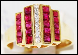 18K Yellow Gold Diamond and Genuine Unique Ruby Ring [R0039]