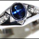 Solitaire Unique 18K White Gold Blue Sapphire Diamond Ring [RS0119]