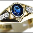 Diamond 18K Yellow Gold Oval Solitaire Blue Sapphire Ring [RS0119]