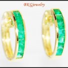 18K Yellow Gold Gemstone Jewelry Emerald Huggie Earrings [EL0012]
