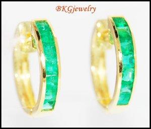 18K Yellow Gold Gemstone Jewelry Emerald Huggie Earrings [EL0012]
