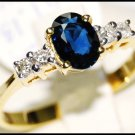 Solitaire Diamond Natural Blue Sapphire 18K Yellow Gold Ring [RS0037]