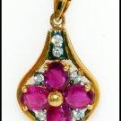 Gemstone Jewelry Diamond Ruby Pendant 18K Yellow Gold [P0078]