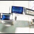 Unique Diamond Gemstone 18K White Gold Blue Sapphire Ring [RQ0037]