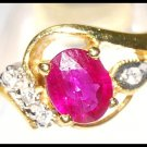 Genuine Ruby Diamond Solitaire Ring 18K Yellow Gold [RS0088]