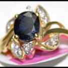 Solitaire Diamond Oval Blue Sapphire Ring 18K Yellow Gold [RS0169]