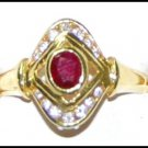 18K Yellow Gold Solitaire Ruby Ring Jewelry Diamond [RS0180]