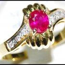 Solitaire Diamond Wedding Ruby 18K Yellow Gold Ring [RS0022]