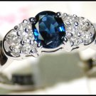 18K White Gold Solitaire Diamond Eternity Blue Sapphire Ring [RS0073]
