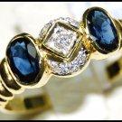 18K Yellow Gold Gemstone Diamond Couple Blue Sapphire Ring [RS0078]