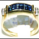 Natural 18K Yellow Gold Diamond For Men Blue Sapphire Ring [RQ0036]