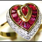 18K Yellow Gold Diamond and Ruby Wedding Heart Ring [RF0031]