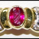 18K Yellow Gold Ruby Wedding Diamond Solitaire Ring [RS0184]