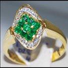 Diamond Eternity Gemstone 18K Yellow Gold Emerald Ring [R0005]