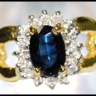 Solitaire Genuine Diamond Blue Sapphire 18K Yellow Gold Ring [RS0045]