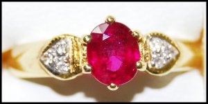 Diamond Ruby Eternity Solitaire 18K Yellow Gold Ring [RS0190]