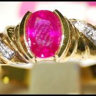 Diamond Solitaire Natural Ruby Ring 18K Yellow Gold [RS0123]