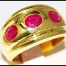 Ruby Jewelry Gemstone 14K Yellow Gold Three Stone Ring [RR072]