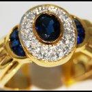 Diamond Eternity Gemstone 14K Yellow Gold Blue Sapphire Ring [RR071]
