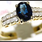 Genuine Diamond 18K Yellow Gold Solitaire Blue Sapphire Ring [RS0038]