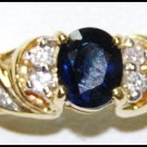 Natural 18K Yellow Gold Diamond Solitaire Blue Sapphire Ring [RS0182]