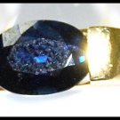 Natural 18K Yellow Gold Solitaire Blue Sapphire Diamond Ring [RS0071]