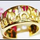 Ruby Gemstone Diamond Cocktail Elephant Ring 14K Yellow Gold [RR004]