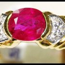 Natural Solitaire 18K Yellow Gold Diamond Ruby Ring [RS0162]