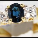 18K Yellow Gold Genuine Blue Sapphire Diamond Solitaire Ring [R0107]