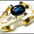 18K Yellow Gold Gemstone Oval Solitaire Blue Sapphire Ring [RS0062]