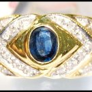 Diamond Genuine Solitaire Blue Sapphire Ring 18K Yellow Gold [RS0079]