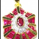 Ruby Jewelry 14K Yellow Gold Diamond Gemstone Pendant [P_158]