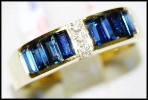 Blue Sapphire Natural For Men Diamond 18K Yellow Gold Ring [RQ0013]