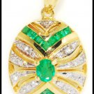 18K Yellow Gold Diamond Pendant Emerald Jewelry Charm [P0082]