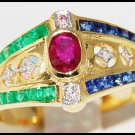 Unique Diamond Jewelry 18K Yellow Gold Multi Gemstone Ring [R0038]