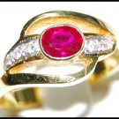Diamond Solitaire Ruby Wedding Ring 18K Yellow Gold [RS0131]