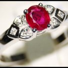 18K White Gold Ruby Gemstone and Diamond Ring [RS0103]