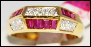 Genuine Ruby and Diamond Unique 18K Yellow Gold Ring [R0019]
