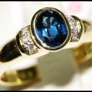 Diamond Solitaire Natural Blue Sapphire Ring 18K Yellow Gold [RS0121]