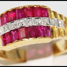 Jewelry Diamond and Ruby Ring Unique 18K Yellow Gold [R0071]