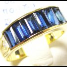 18K Yellow Gold Wedding Diamond For Men Blue Sapphire Ring [RQ0028]