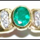 Diamond 18K Yellow Gold Natural Emerald Solitaire Ring [RS0171]