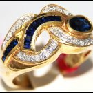 Diamond Wedding Gemstone Blue Sapphire Ring 14K Yellow Gold [RR075]