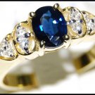 18K Yellow Gold Oval Solitaire Blue Sapphire Diamond Ring [RS0085]