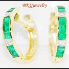 18K Yellow Gold Gemstone Diamond Emerald Huggie Earrings [EL0002]
