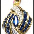 Genuine Blue Sapphire Pendant Diamond 14K Yellow Gold [P_155]